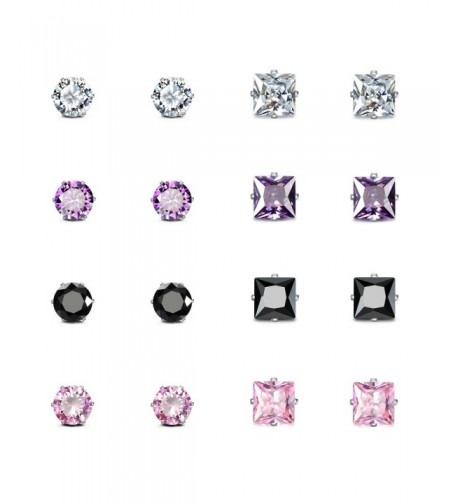 JewelrieShop Square Earrings Stainless Zirconia