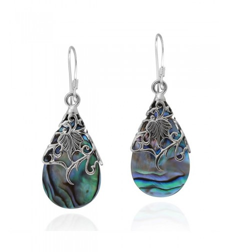 Floral Teardrop Abalone Sterling Earrings