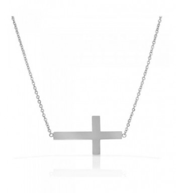 Stainless Silver tone Sideways Pendant Necklace