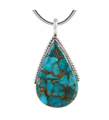 Turquoise Pendant Necklace Sterling Silver