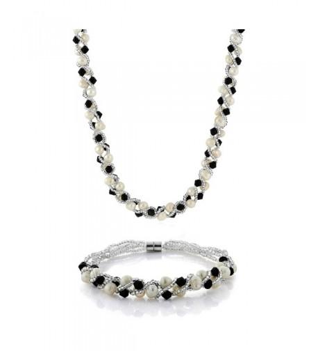 Cultured Freshwater Crystal Necklace Bracelet