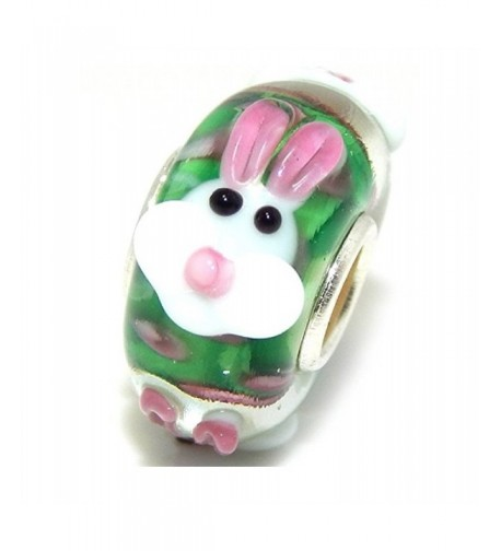 Solid Sterling Silver Green Bunny