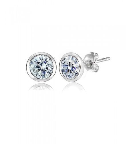 Sterling Bezel set Earrings Swarovski Crystals
