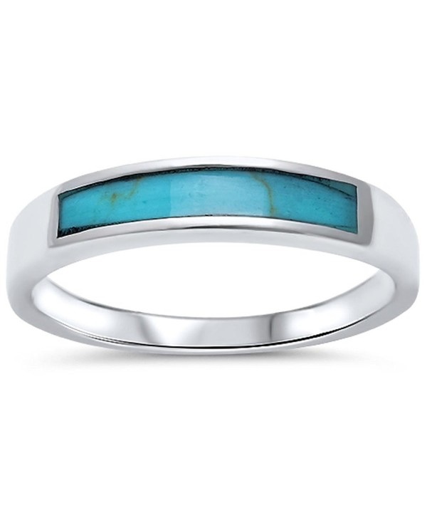Turquoise Design Band Sterling Silver