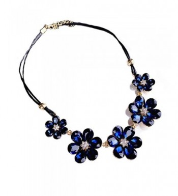 Crystal Statement Necklaces Y shape Leather
