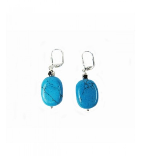 Composed Turquoise Leverback Earring Assambled