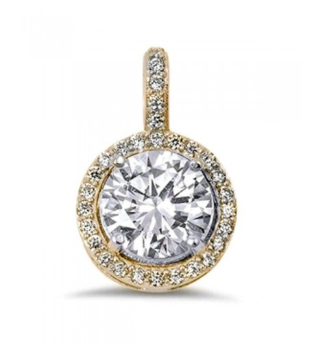 Zirconia Sterling Pendant Available yellow gold plated silver