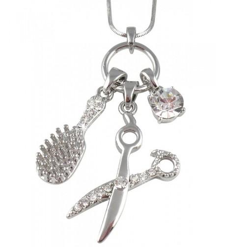 Crystal Barber Dresser Scissors Necklace