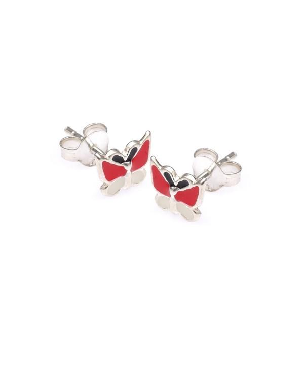 Sterling Silver Enamel Butterfly Earrings