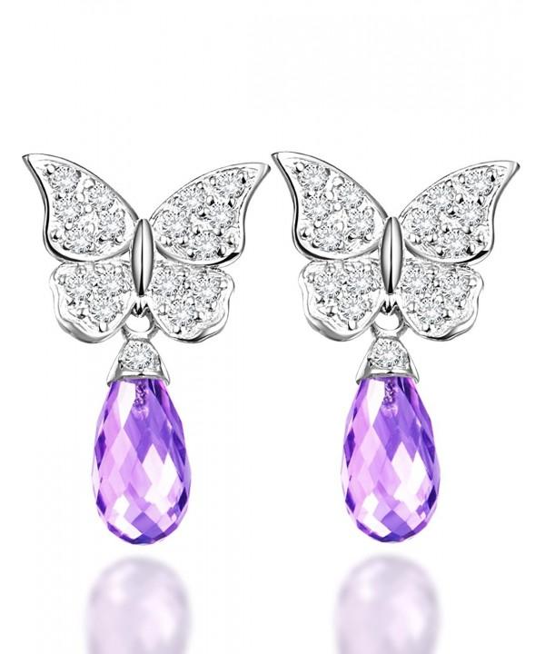 Amethyst February Birthstone Butterfly Earrings
