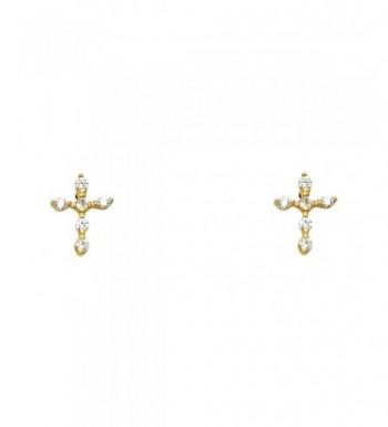 Yellow Gold Cross Earrings Screw
