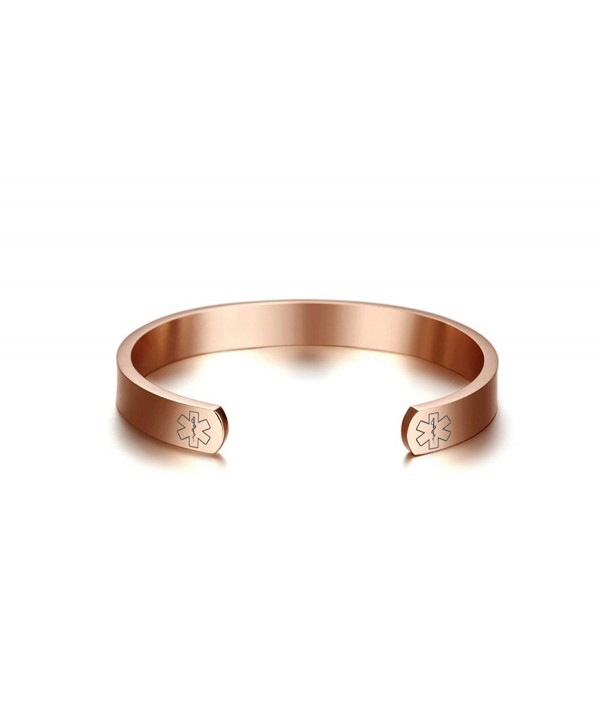 Engraving Stainless Medical Bangle Bracelet Plated