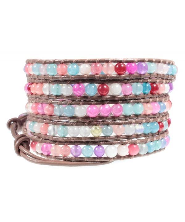 Color Bead Brown Leather Bracelet