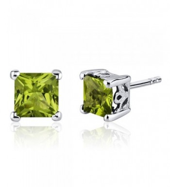 Peridot Earrings Sterling Silver Princess