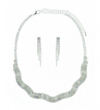 Multi Row Rhinestone Necklace Earrings Silver Tone