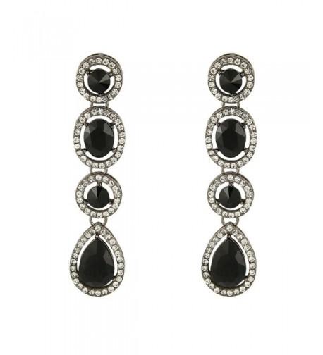 EleQueen Austrian Teardrop Earrings Black tone