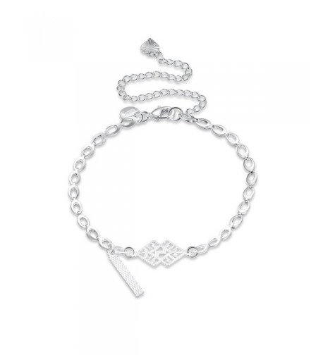 Silver Anklet Dangle Barefoot Stretch