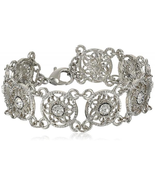 1928 Jewelry Crystal Silver Tone Bracelet