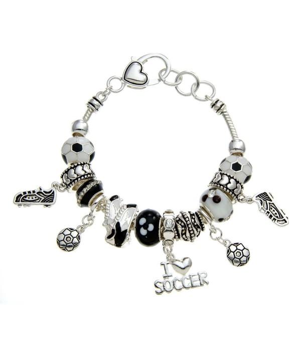 PammyJ Black Silvertone Soccer Bracelet