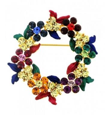 Multicolor Crystal Wreath Pin Brooch