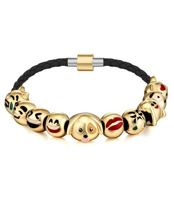 Emoticon Charms Bracelet Interchangeable Leather