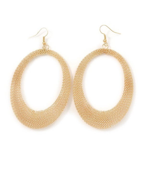 Large Gold Tone Mesh Earrings