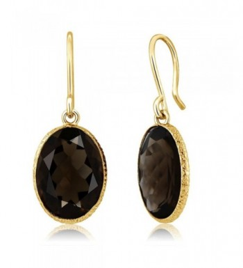 Smokey Quartz 14x10mm Plated Earrings