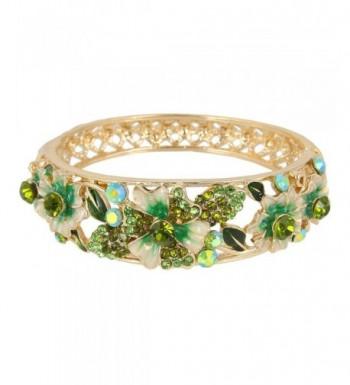 EleQueen Gold tone Austrian Crystal Bracelet