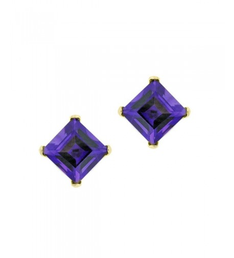 Square Purple Amethyst Yellow Earrings