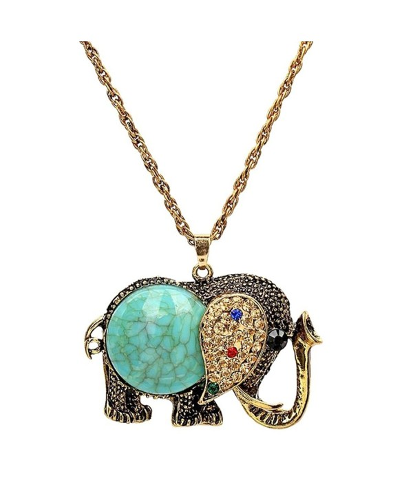 Elephant Pendant Vintage Sweater Necklace