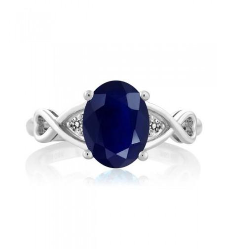 Sterling Silver Sapphire Diamond Womens