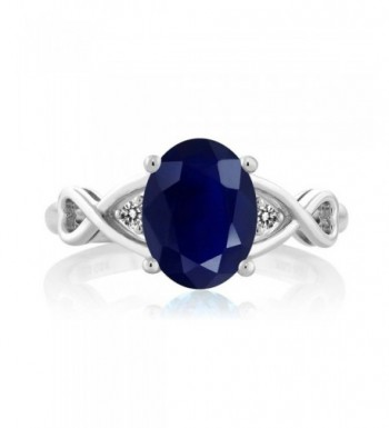 Sterling Silver Sapphire Diamond Womens