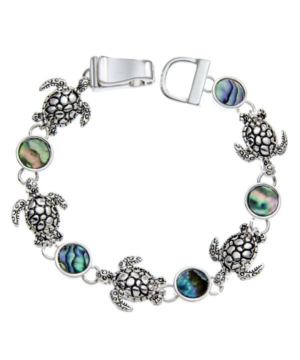 PammyJ Silvertone Abalone Bracelet Magnetic