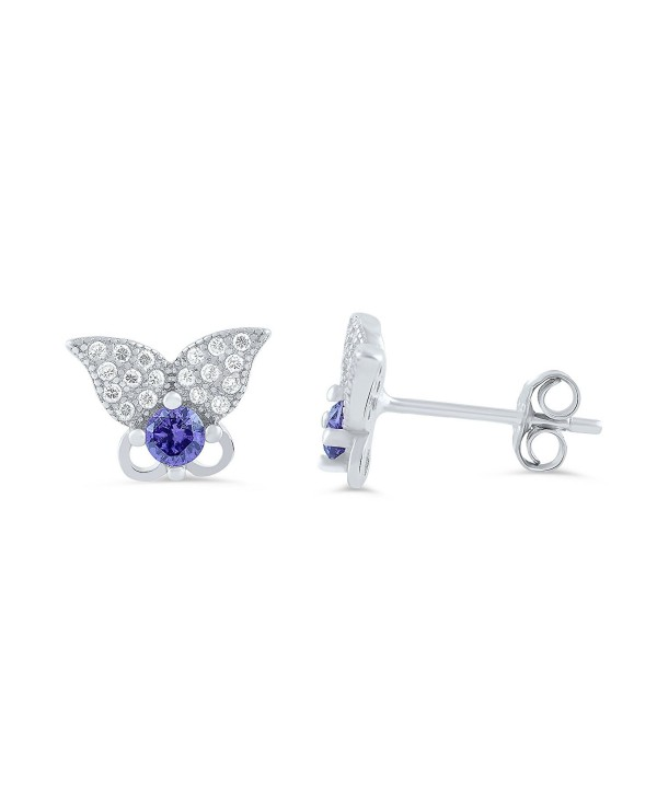 Sterling Silver Purple Butterfly Earrings