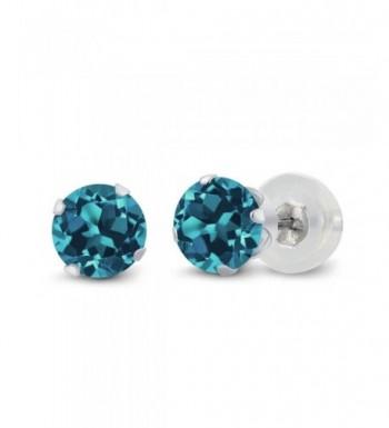 Round London Topaz 4 prong Earrings
