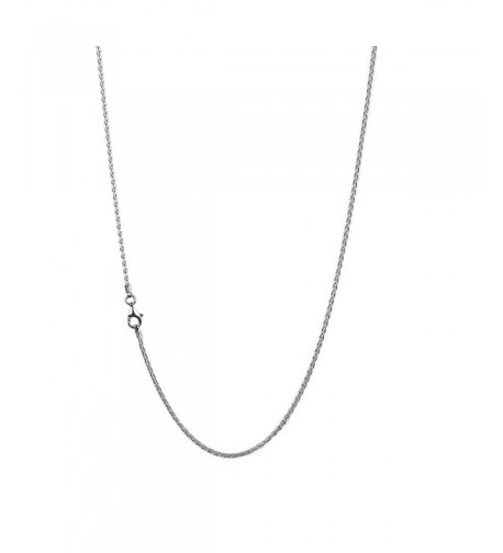 Sterling Spiga Wheat Chain Necklace Clasp RHODIUM