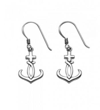 Sterling Silver Cross Anchor Earrings