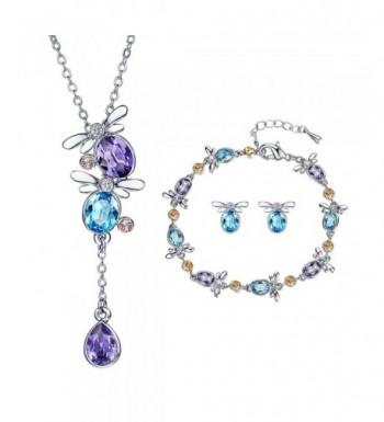 Butterfly Crystal Cloisonne Earrings Necklace
