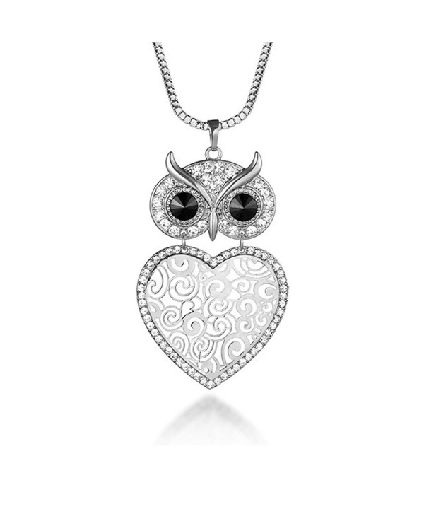 Pendant Necklace Rhinestone Silver Plated