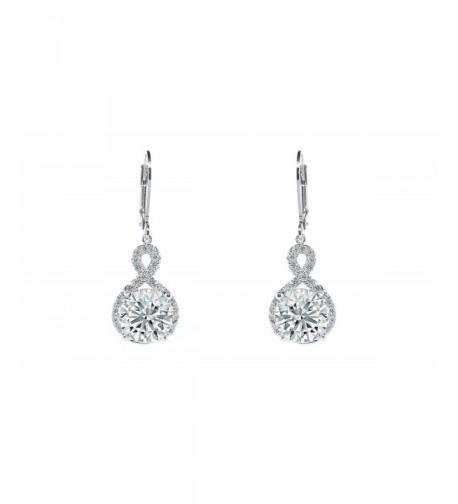 Womens Zirconia Infinity Earrings Silver