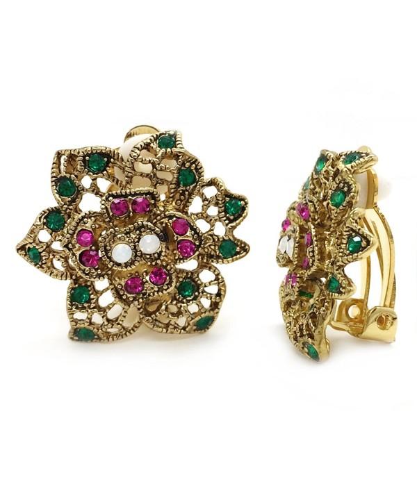 Earrings Flower Antique Crystal Filigree