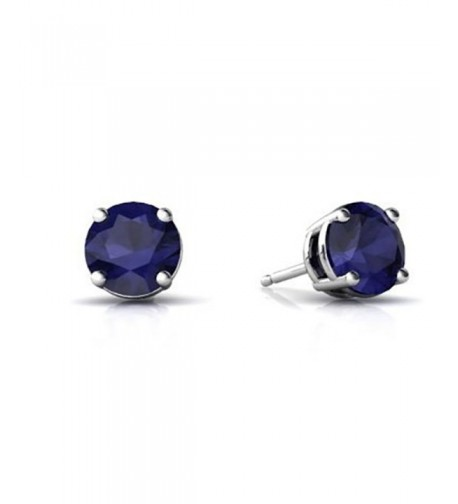Earring Simulated Blue Sapphire Sterling
