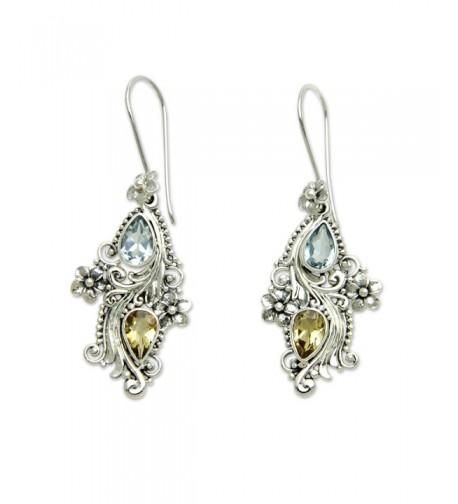 NOVICA Multi Gem Sterling Earrings Plumeria