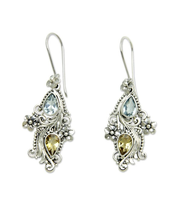 NOVICA Multi Gem Sterling Earrings Plumeria