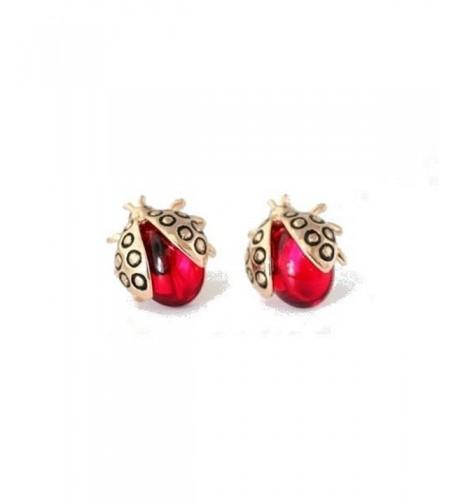 Ladybugs Earrings Zirconia Crystals Plated