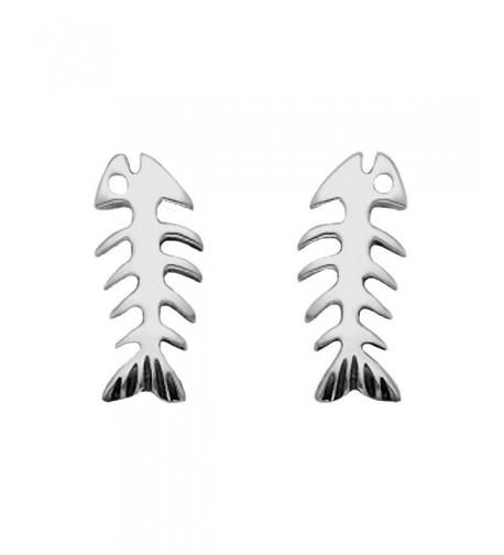 Sterling Silver Skeletal Fish Earrings