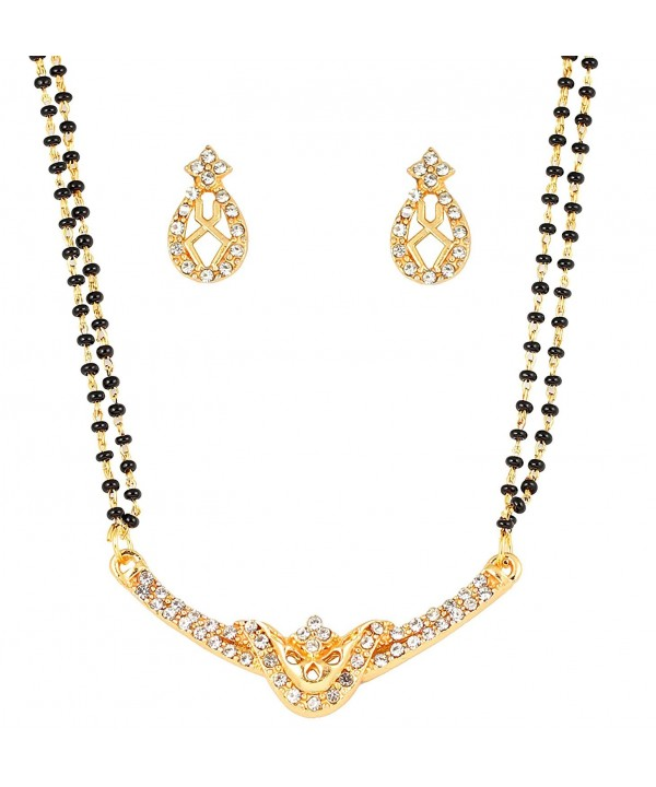 Touchstone bollywood rhinestones mangalsutra necklace