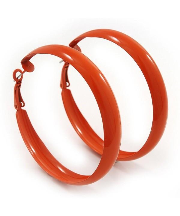 Medium Orange Enamel Hoop Earrings