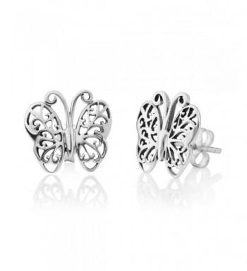 Sterling Silver Filigree Butterfly Earrings