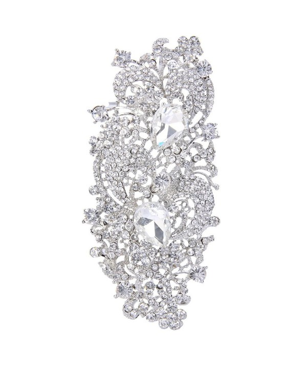 EVER FAITH Silver Tone Austrian Crystal